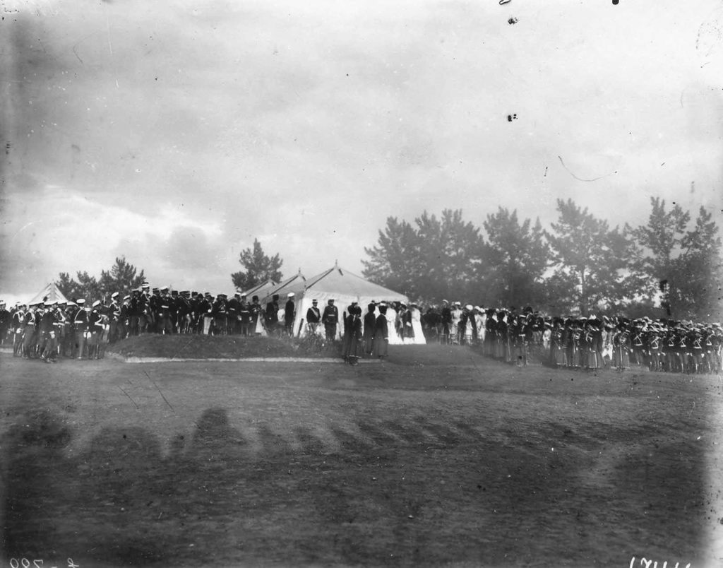 Solemn parade. Visit of the Italian King Victor Emmanuel III to Russia, 1902.