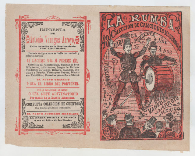 Cover for 'La Rumba: Coleccion de Canciones Modernas para el Presente Año 1903', a conductor and a drummer performing on stage for an audience