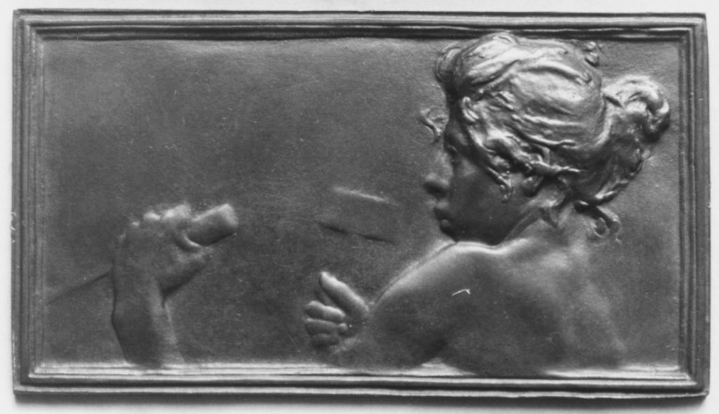 Nude bust of a girl vigorously sculpting a marble block (La Sculpture)