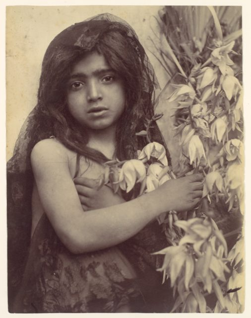 [Young Girl with Flowers, Sicily, Italy]