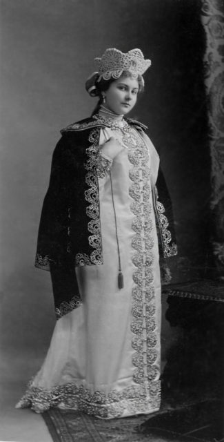 Alexandra Alexandrovna Taneeva in costume for performance at the ball of the Russian costume