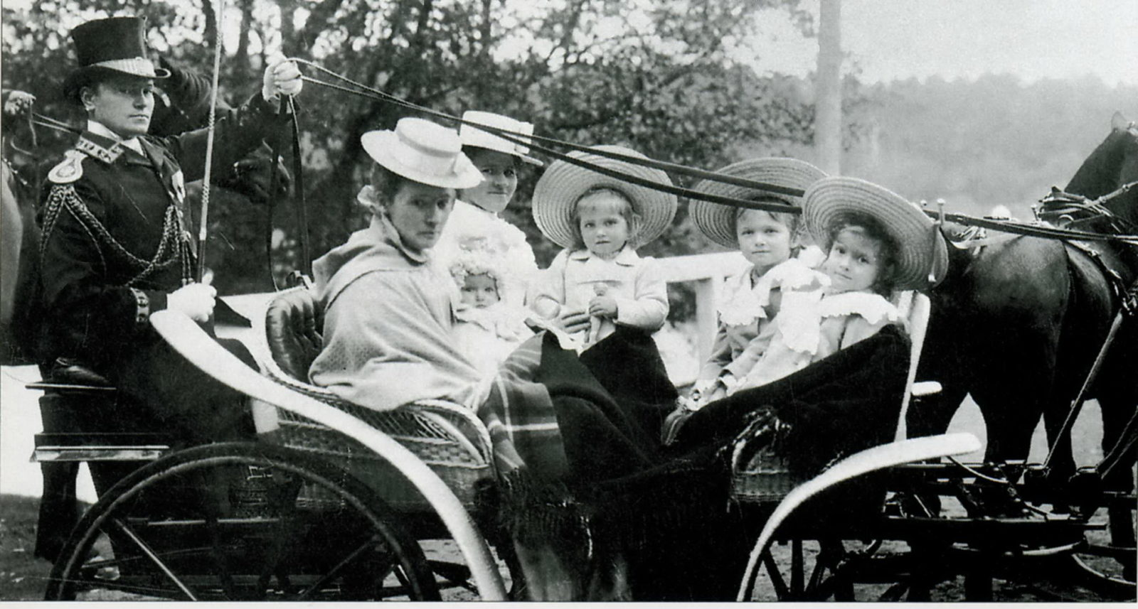 From left to right: Grand Princess Tatiana, Olga, Maria and Anastasia on a walk with nannies. 1902 - 1903 years.