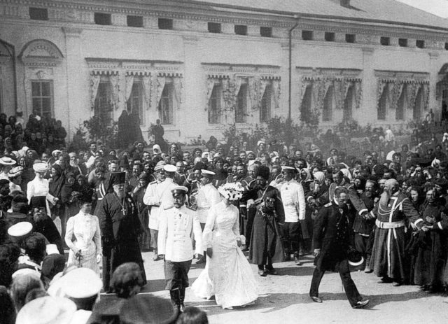 Nicholas II with Empress Alexandra Feodorovna. The Sarov desert.