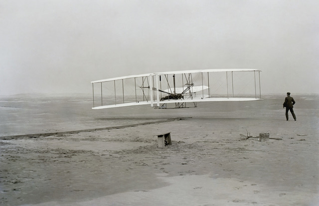 Orville Wright in the Wright Flyer
