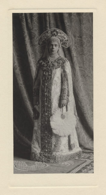 Portrait of Xenia Alexandrovna, Grand Duchess of Russia, costumed as a boyar's wife
