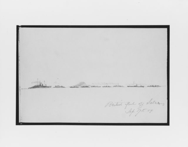 British Fleet off Salamis (from Sketchbook)