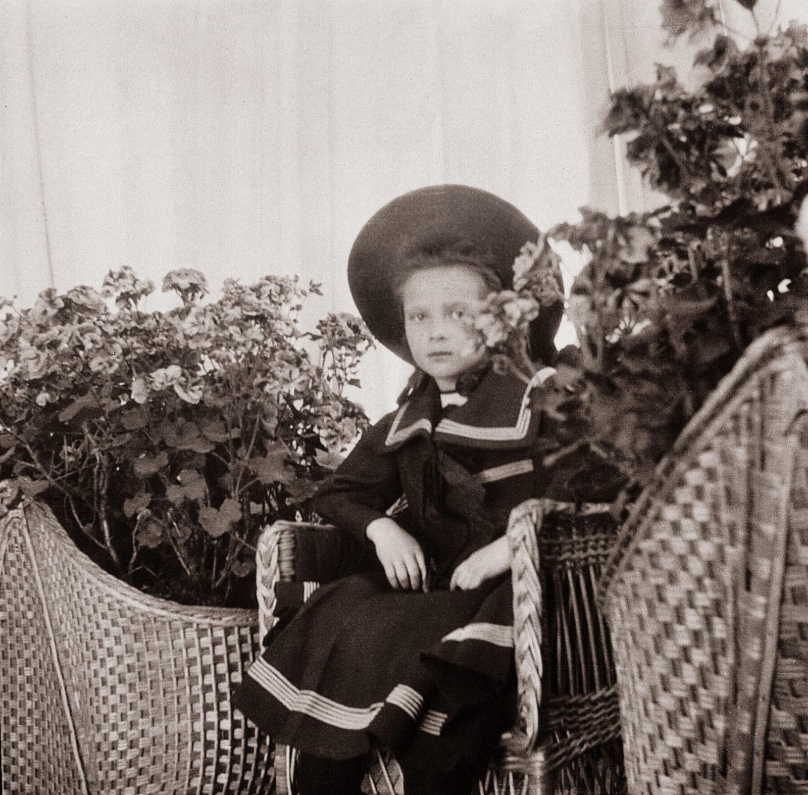 Grand Duchess Tatiana Nikolaevna. The second daughter of Emperor Nicholas II and Empress Alexandra Feodorovna. At home. Children's photo of 1904.