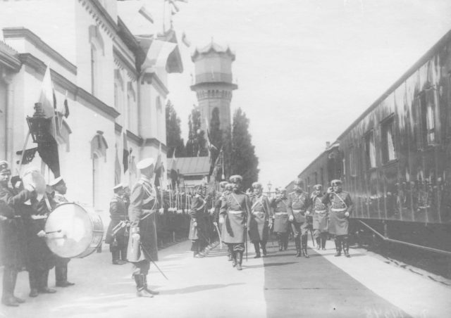 Poltava. Review of the regiments before being sent to the active army. 1904