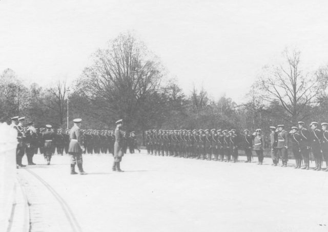 Review of the regiments before being sent to the active army. 1904