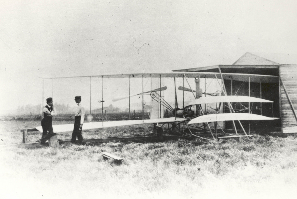 Wilber and Orville Wright with Flyer II at Huffman Prairie