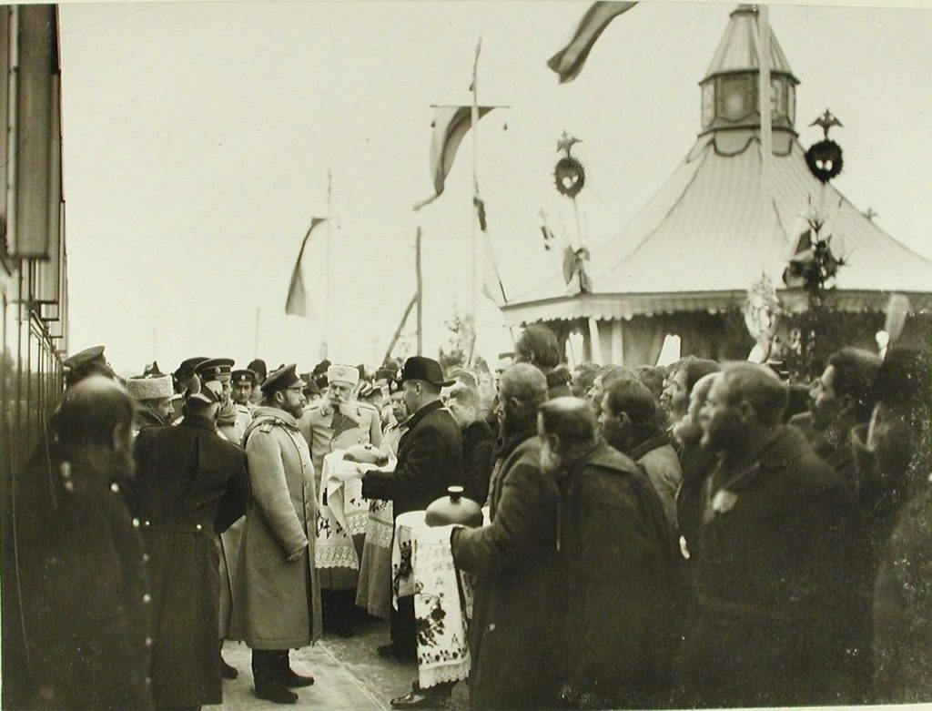 Zhmerynka. Provincial officials and residents greet Emperor Nicholas