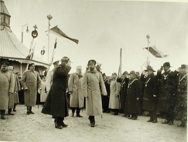 Zhmerynka. Provincial officials greet Emperor Nicholas II