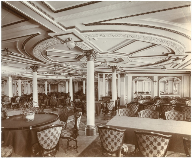 [First class dining saloon, Lusitania]