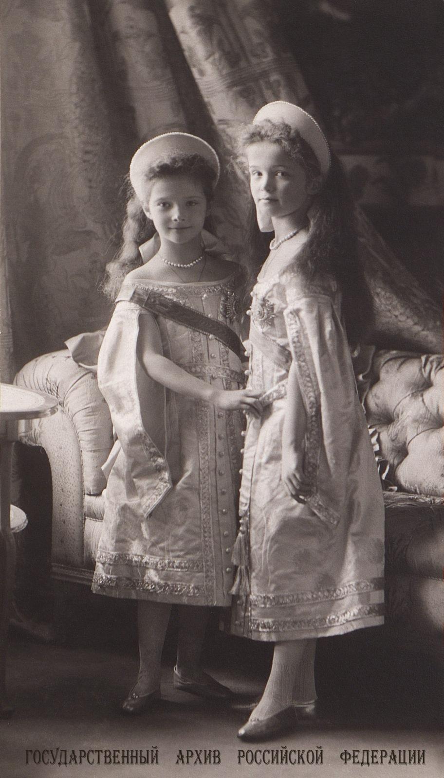 Grand Duchesses Tatiana and Olga . 1905 .