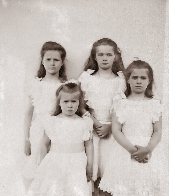 The Grand Duchesses Olga, Tatiana, Maria and Anastasia. Daughters of Emperor Nicholas II and Empress Alexandra Feodorovna. Photo of 1905.