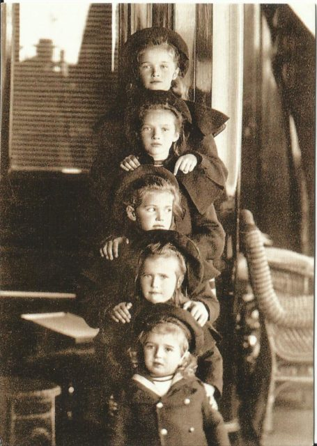 Children of Emperor Nicholas II: Grand Duchess Olga, Tatyana, Marie, Anastasia (OTMA) and Tsesarevich Alexis on the yacht Standart 1906, Russia