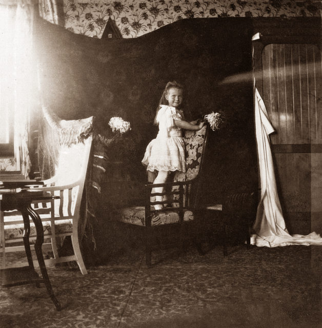 Grand Duchess Anastasia Nikolaevna. The fourth daughter of Emperor Nicholas II and Empress Alexandra Feodorovna. Children's Photo 1906.