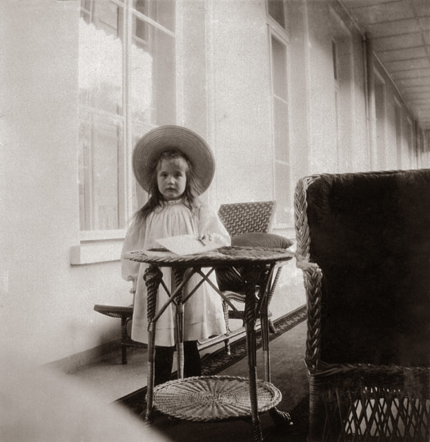 Grand Duchess Anastasia Nikolaevna. The fourth daughter of Emperor Nicholas II and Empress Alexandra Feodorovna. Children's Photo 1906.