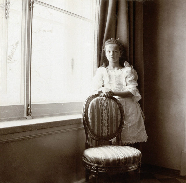 Grand Duchess Olga Nikolaevna. The first daughter of Emperor Nicholas II and Empress Alexandra Feodorovna. Children's Photo 1905-1906.