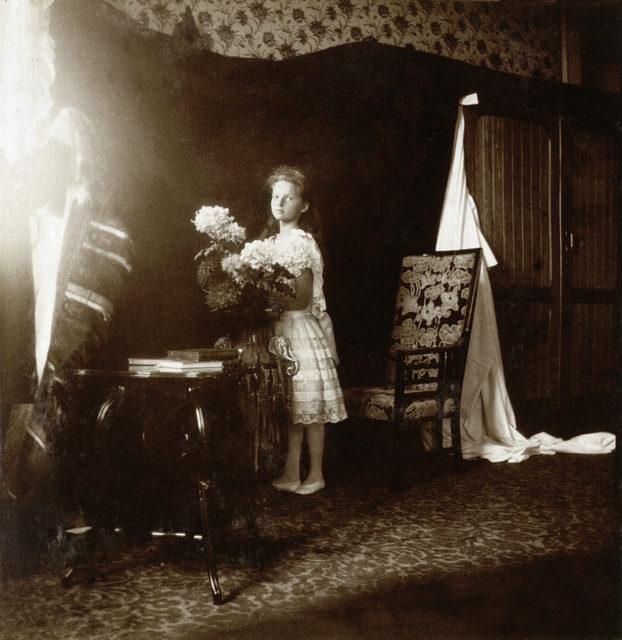 Grand Duchess Tatiana Nikolaevna. The second daughter of Emperor Nicholas II and Empress Alexandra Feodorovna. At home. Children's photo of 1906.