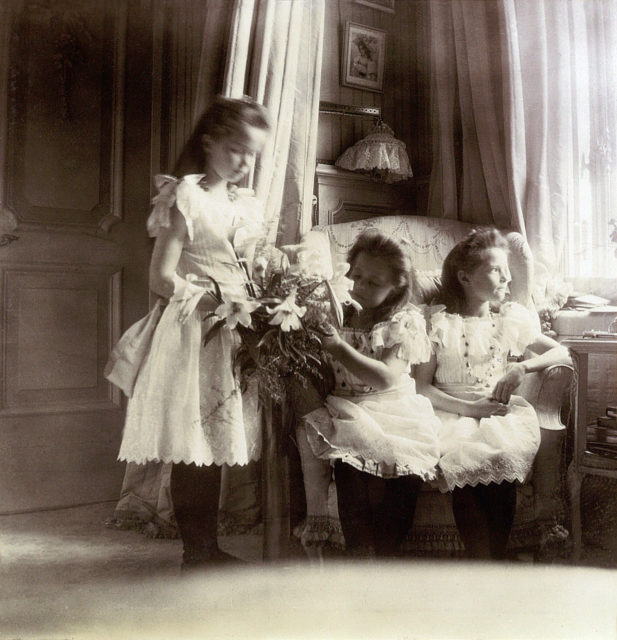 Grand Duchesses  Olga, Maria and Tatiana .1906.