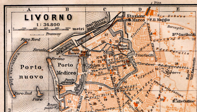 Livorno - city center - Free map of Italy