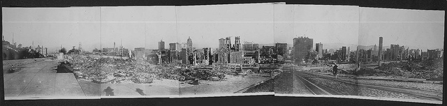 Panorama photograph from Pine and Powell streets, San Francisco, taken after the earthquake, ca. 1905