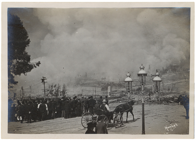 Photograph of a Fire Partially Under Control After the 1906 San Francisco Earthquake, 1906