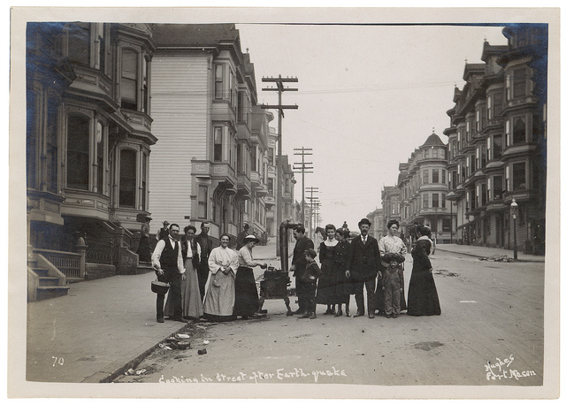 Photograph of a Group Cooking on a Stove in the Street After the 1906 San Francisco Earthquake, 1906