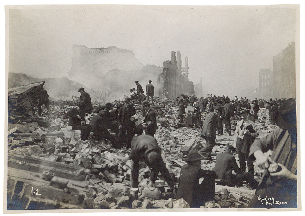 Photograph of Souvenir Hunters After the 1906 San Francisco Earthquake, 1906