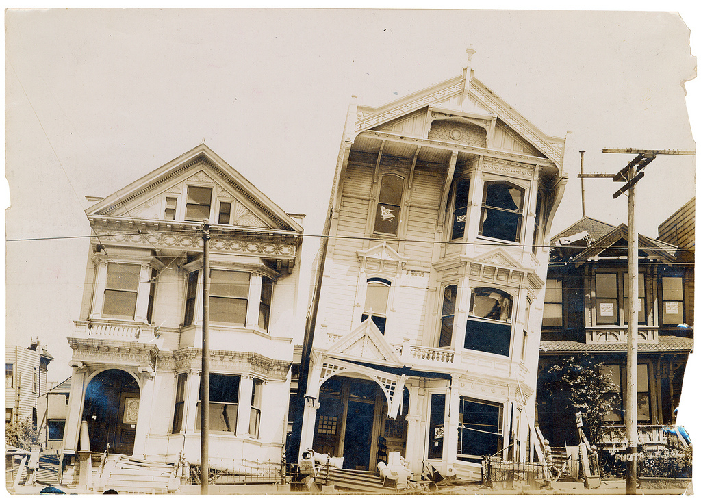 Photograph of the Effect of Earthquake on Houses After the 1906 San Francisco Earthquake, 1906