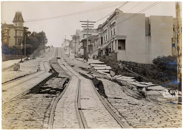 Photograph of Union Street Car Line After the 1906 San Francisco Earthquake, 1906