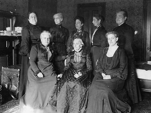 Susan B. Anthony with seven other women