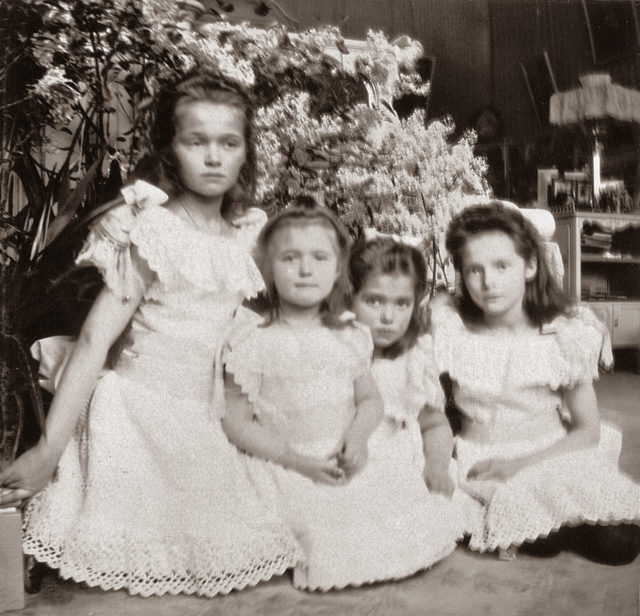 The Grand Duchesses Olga, Tatiana, Maria and Anastasia. Daughters of Emperor Nicholas II and Empress Alexandra Feodorovna. Photo of 1906.