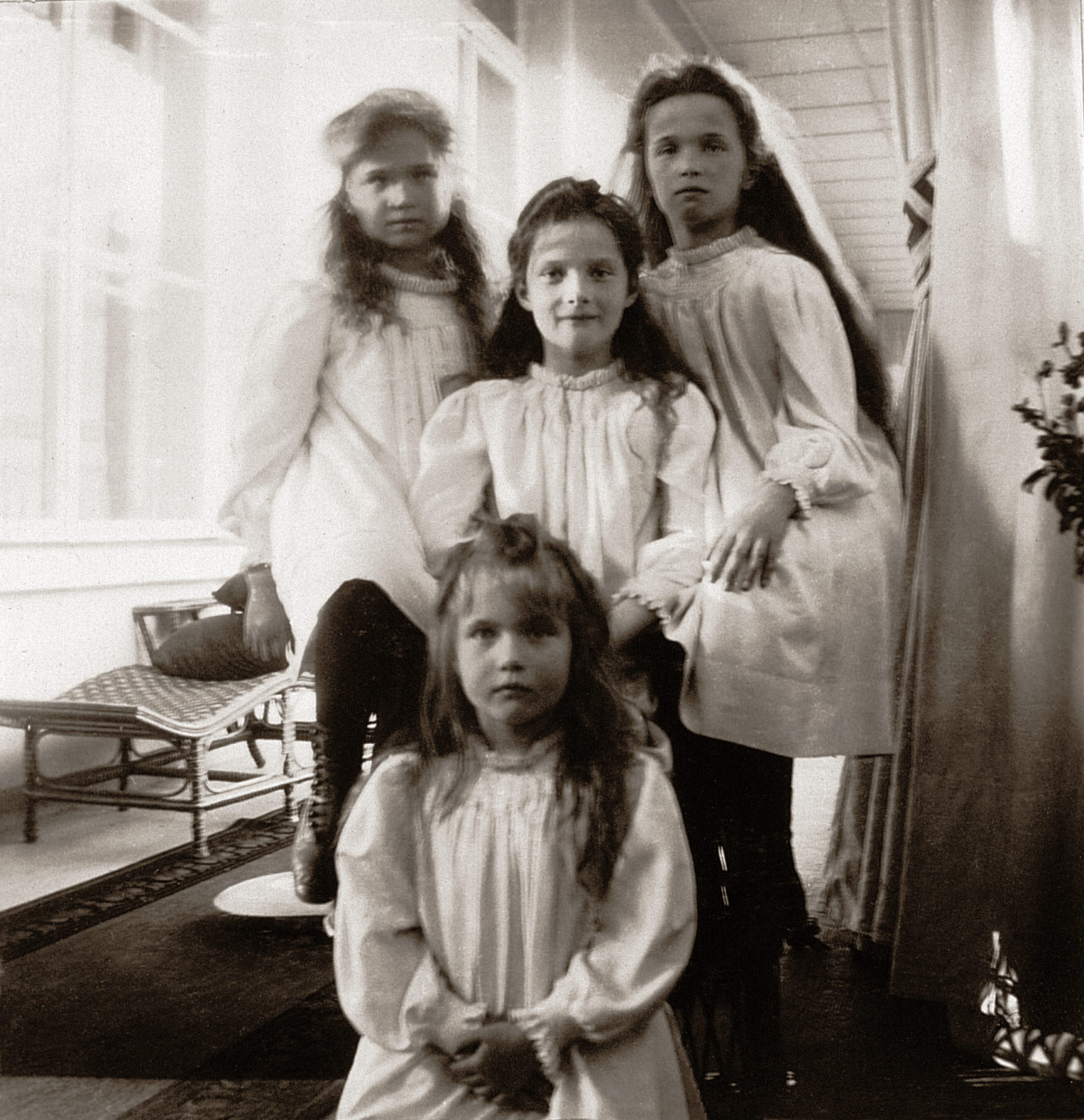 The Grand Duchesses Olga, Tatiana, Maria and Anastasia. Daughters of Emperor Nicholas II and Empress Alexandra Feodorovna. Photo of 1905-1906.