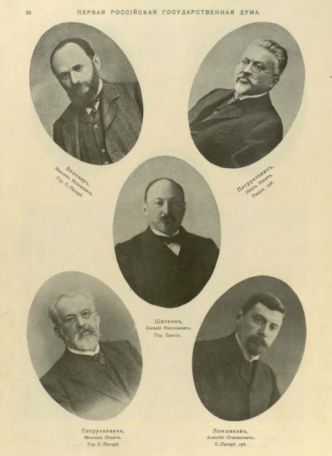 Vinaver, Petrunkevich, Schepkin, Petrunkevich, Lomshakov. Deputies of the First State Duma.
