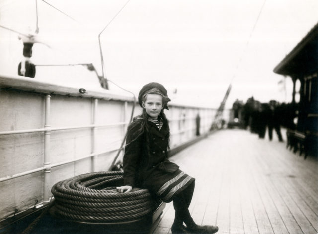 Grand Duchess Tatiana Nikolaevna. The second daughter of Emperor Nicholas II and Empress Alexandra Feodorovna.  On the ship. Children's photo of 1907. Storage: State Archives of the Russian Federation.