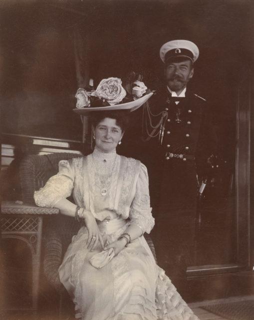 Emperor  Nicholas II and Empress Alexandra Feodorovna.Yacht Standard, 1908