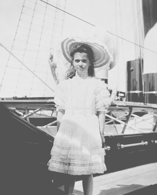 Grand Duchess Maria Nikolaevna on the deck of the Royal Yacht Victoria and Albert.