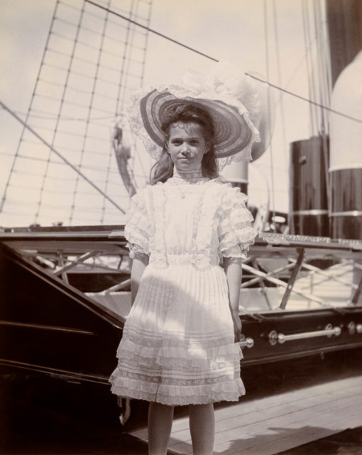 Grand Duchess Maria Nikolaevna. The third daughter of Emperor Nicholas II and Empress Alexandra Feodorovna. On the ship. Photo of 1908.