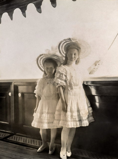 Grand Duchesses Anastasia and Maria  on board of Imperial Yacht Standart  June 1908