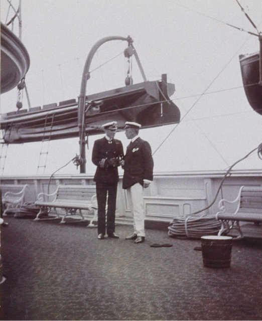 Britis officer and Russian Ambassador. Meeting of King Edward VII and Emperor Nicholas II in the Revel Bay. June 9, 1908.