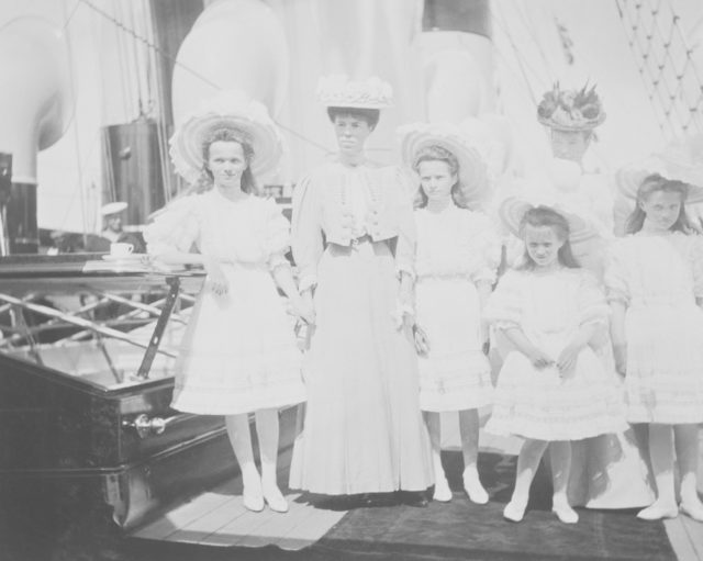 Members of the Russian royal families on the deck of the yacht.