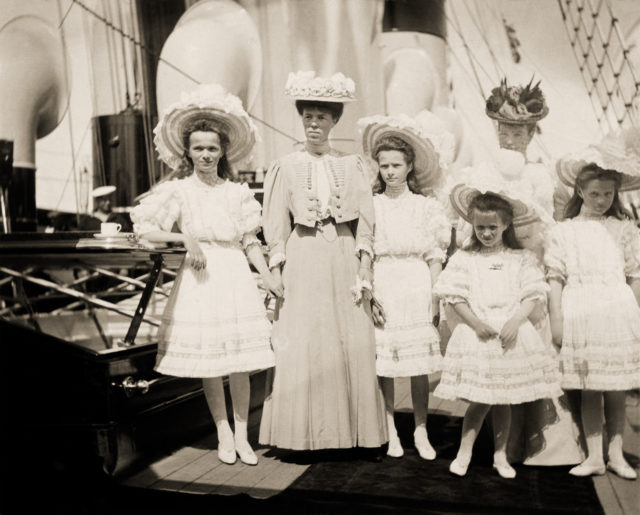 The Grand Duchesses Olga, Tatiana, Maria and Anastasia on board the Imperial yacht Standart. June 1908.