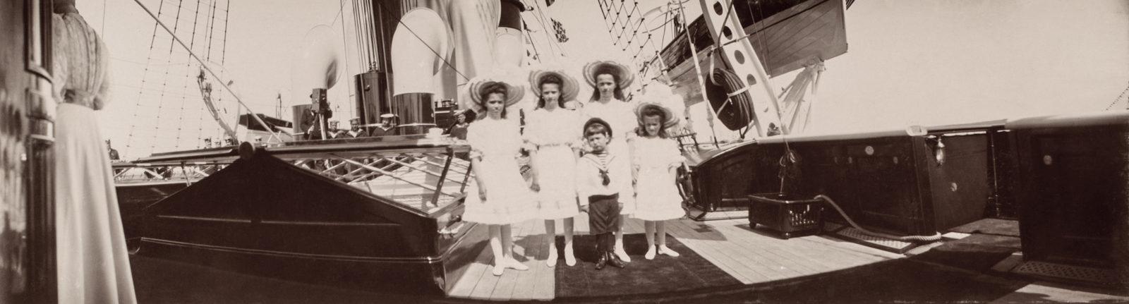 The Tsarevich Alexei and Grand Duchesses Olga, Tatiana, Maria and Anastasia aboard the Imperial yacht Standart. June 1908.