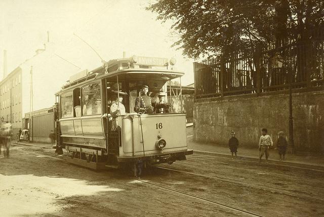 Tram at Danviksgatan in Stockholm 1908