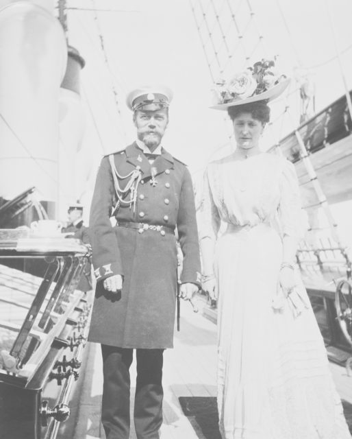 Tsar Nicholas II and Empress Alexandra Fedorovna on the deck of the Royal Yacht Victoria and Albert.