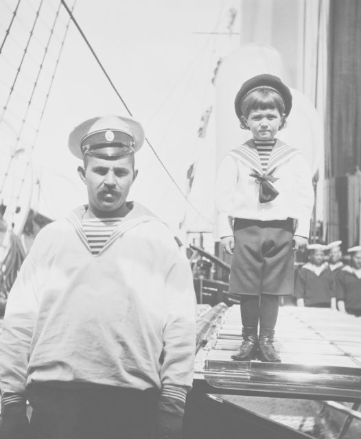Tsarevich Alexei Nikolayevich on the deck of the royal yacht Victoria and Albert.