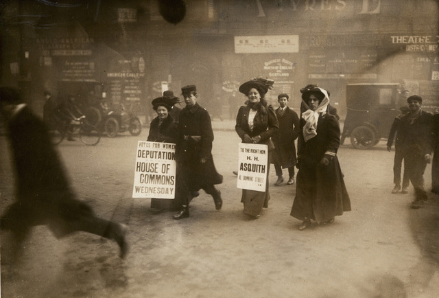 Women advertising a deputation to the Prime Minister, c.1908-1914.