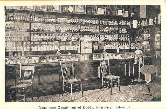 Dispensing Department of Dodd's pharmacy in Katoomba, N.S.W. - very early 1900s